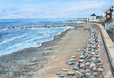 Poster featuring the painting Brant Rock At High Tide by Rita Brown