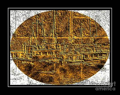 Brass-type Etching - Oval - Boats Tied Up To The Wharf Poster by Barbara Griffin