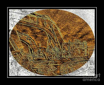 Brass-type Etching - Oval - Construction Worker Poster by Barbara Griffin
