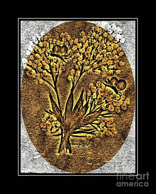 Brass-type Etching - Oval - Butterflies And Babies Breath Poster by Barbara Griffin