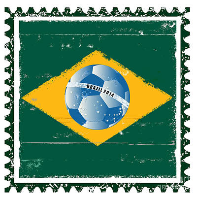 Brazil Flag Like Stamp In Grunge Style Poster