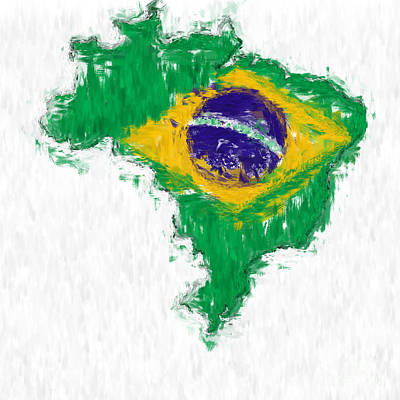 Brazil Painted Flag Map Poster