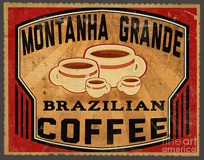 Brazilian Coffee Label 1 Poster by Cinema Photography