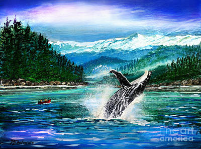 Breaching Humpback Whale Poster by Patricia L Davidson