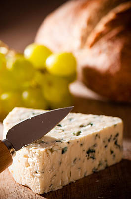 Bread And Cheese With Grapes Poster