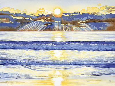 Breakers At Sunset Carmel Poster by Kerry Van Stockum