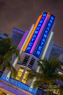 Breakwater Hotel Art Deco District Sobe Miami Poster by Ian Monk