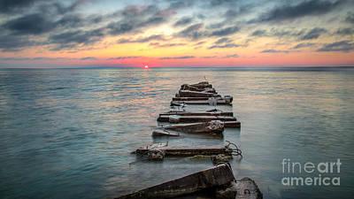 Breakwater Sunrise Poster
