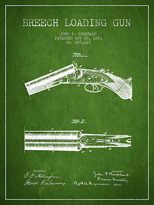 Breech Loading Gun Patent Drawing From 1883 - Green Poster by Aged Pixel