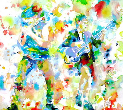 Brian Johnson And Angus Young - Watercolor Portrait Poster by Fabrizio Cassetta