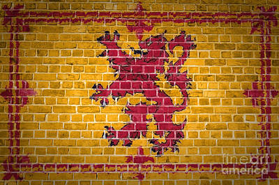 Brick Wall Scotland Lion Rampant Poster by Antony McAulay