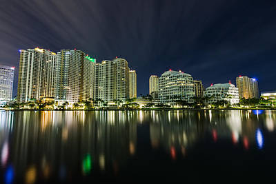 Brickell Key Night Cityscape Poster
