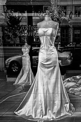 Bridal Dress Display Mannequins In Storefront Window In Black And White Poster