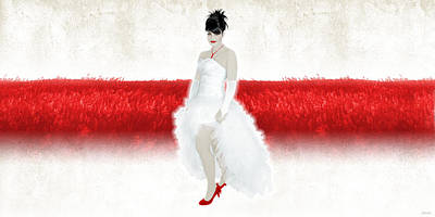 Lady In Red Poster by Ervin Hajdu