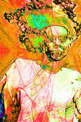 Bride Of Frankenstein In Abstract20140908 Orange Poster by Wingsdomain Art and Photography