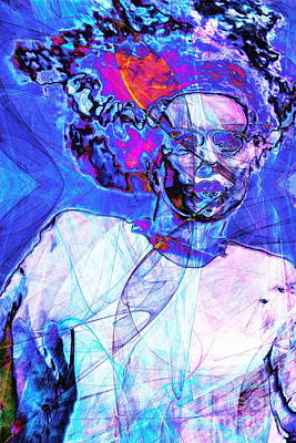 Bride Of Frankenstein In Abstract 20140908 Blue Poster by Wingsdomain Art and Photography