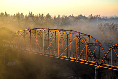 Bridge In Fog  Poster