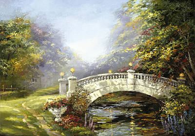 Poster featuring the painting Bridge In The Park by Dmitry Spiros