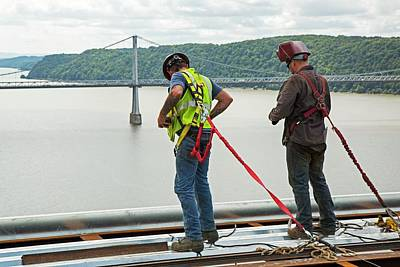 Bridge Lift Construction Workers Poster by Jim West