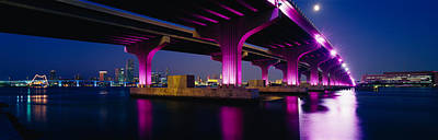 Bridge Lit Up Across A Bay, Macarthur Poster
