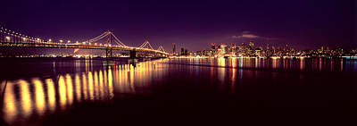 Bridge Lit Up At Night, Bay Bridge, San Poster by Panoramic Images