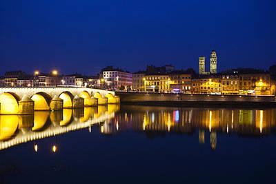 Bridge Lit Up At Night, Pont St-laurent Poster
