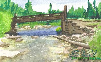 Poster featuring the painting Bridge On The Red Cloud Loop by Sherril Porter