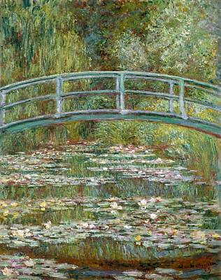 Bridge Over A Pond Of Water Lilies Poster by Claude Monet
