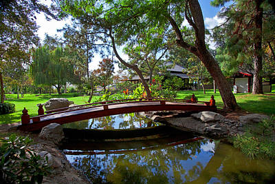 Poster featuring the photograph Bridge Over Japanese Gardens Tea House by Jerry Cowart