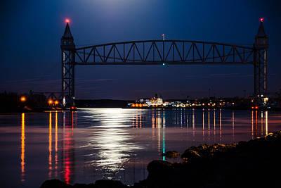 Bridge Over Moonlit Water Poster