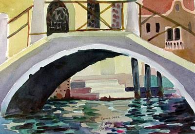 Bridge Reflections Venice Poster by Linda Novick