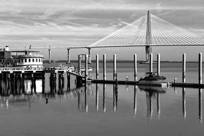 Bridge To Mount Pleasant - Black And White Poster by Jenny Hudson
