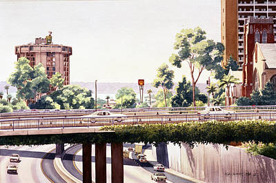 Bridges Over Rt 5 Downtown San Diego Poster by Mary Helmreich