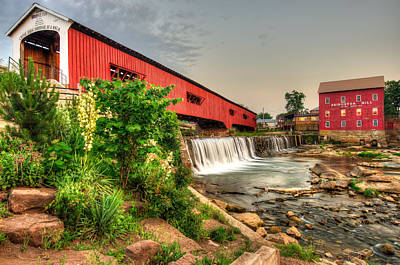 Bridgeton Mill And Covered Bridge Poster by Gregory Ballos