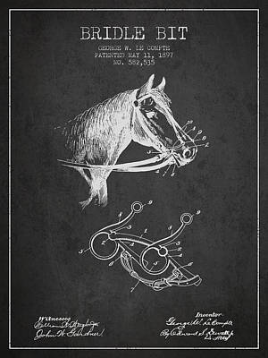 Bridle Bit Patent From 1897 - Charcoal Poster by Aged Pixel