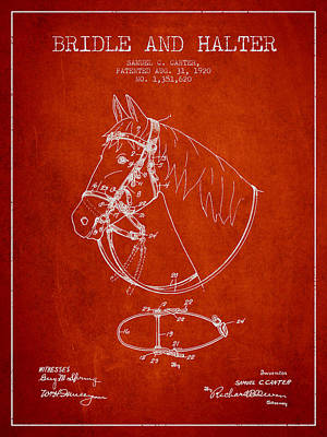 Bridle Halter Patent From 1920 - Red Poster by Aged Pixel