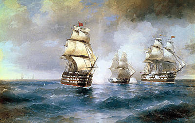 Brig Mercury Attacked By Two Turkish Ships Poster by Ivan Konstantinovich Aivazovsky