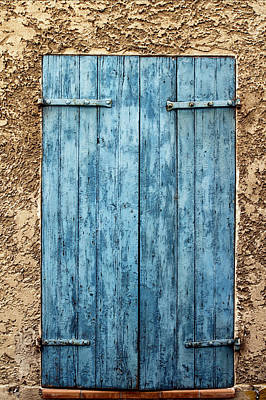 Bright Blue French Shutters Poster