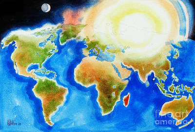 Bright Blue World Map In Watercolor With Sunshine And Moon  Poster