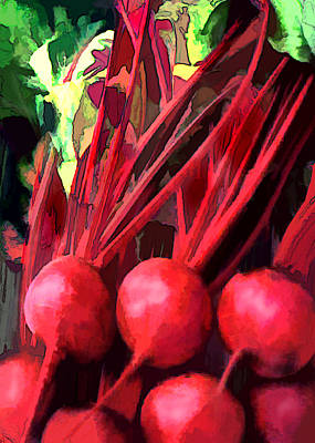 Bright Red Beets Poster by Elaine Plesser