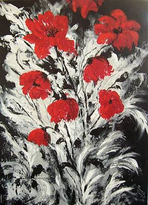 Bright Red Poppies Poster by Renate Voigt