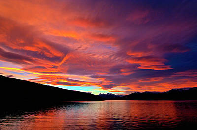 Brilliant Colorful Sunset Over Lago Poster by Jan and Stoney Edwards