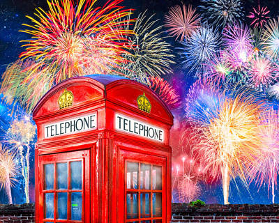 Brilliant Fireworks Over A Classic British Phone Box Poster by Mark E Tisdale