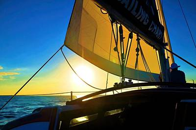 Brilliant Sunset Sail Poster by Pamela Blizzard