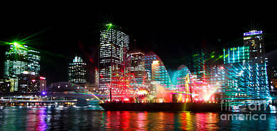 Brisbane City Of Lights Poster by Peta Thames