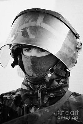 British Army Soldier With Helmet And Riot Gear On Crumlin Road At Ardoyne Shops Belfast 12th July Poster