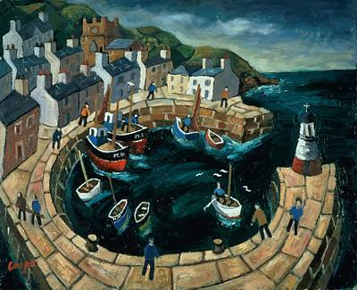 Brittany Harbour Oil On Board Poster