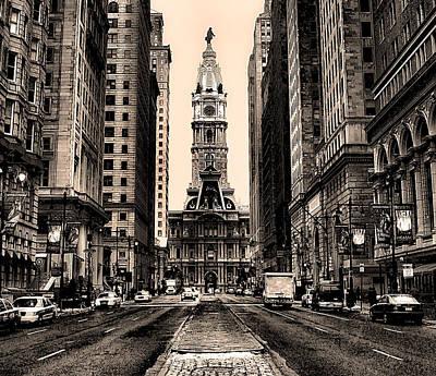 Broad Street In Philadelphia In Sepia Poster by Bill Cannon