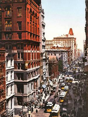 Broadway And Dey Street New York 1900 Poster