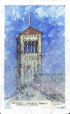 Poster featuring the mixed media Broadway Church Tower by Tim Oliver